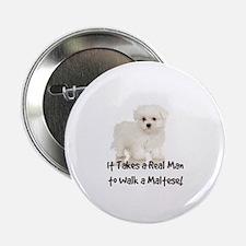 "Real Men Walk Maltese 2.25"" Button (10 pack)"