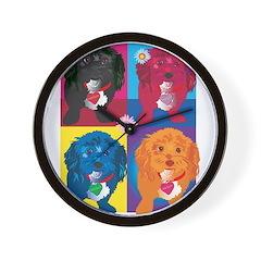 BLACK DOG portrait Wall Clock