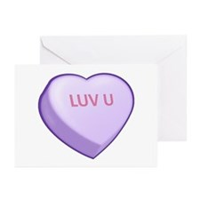 LUV U Candy Heart Greeting Cards (Pk of 20)