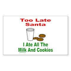 SANTA/MILK AND COOKIES Rectangle Sticker 50 pk)
