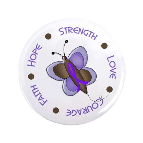 "Hope Courage Butterfly 2 EC 3.5"" Button (100 pack)"