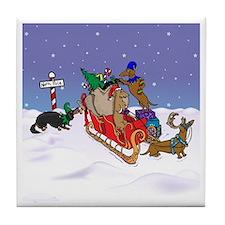 North Pole Dachshunds Tile Coaster
