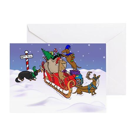 North Pole Dachshunds Christmas Card