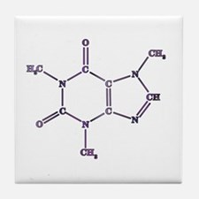 Purple Caffeine Molecule Tile Coaster
