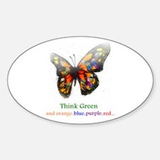 Think Green blue purple Oval Decal