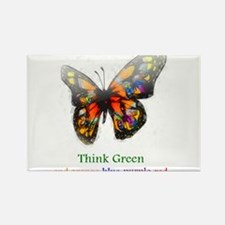 Think Green blue purple Rectangle Magnet