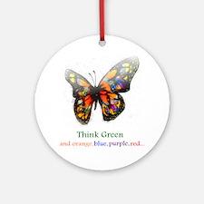 Think Green blue purple Ornament (Round)