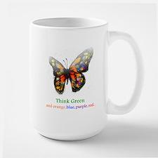 Think Green blue purple Large Mug
