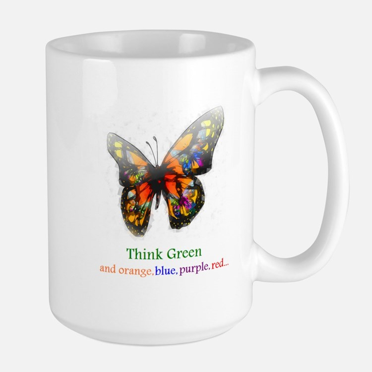 Think Green blue purple Mug