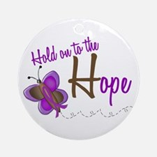 Hold On To Hope 1 Butterfly 2 PURPLE Ornament (Rou