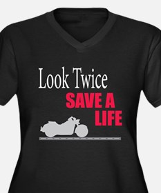 Look Twice Women's Plus Size V-Neck Dark T-Shirt