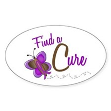 Find A Cure 1 Butterfly 2 PURPLE Oval Decal