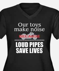 Loud Pipes 1 Women's Plus Size V-Neck Dark T-Shirt