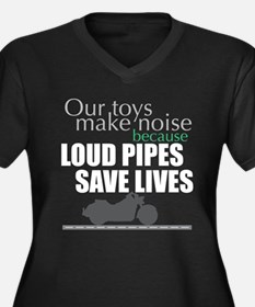 Loud Pipes 2 Women's Plus Size V-Neck Dark T-Shirt
