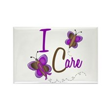 I Care 1 Butterfly 2 PURPLE Rectangle Magnet