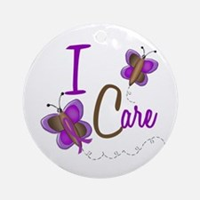I Care 1 Butterfly 2 PURPLE Ornament (Round)