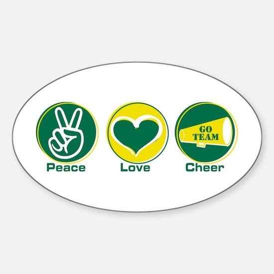 Peace Love Cheer GrYel Sticker (Oval)
