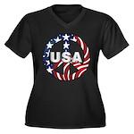 USA Peace Sign Women's Plus Size V-Neck Dark T-Shi