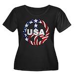 USA Peace Sign Women's Plus Size Scoop Neck Dark T