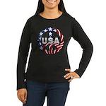 USA Peace Sign Women's Long Sleeve Dark T-Shirt