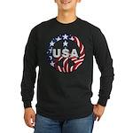 USA Peace Sign Long Sleeve Dark T-Shirt