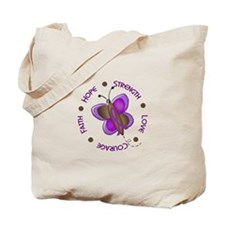 Hope Courage 1 Butterfly 2 PURPLE Tote Bag