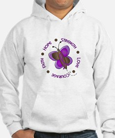 Hope Courage 1 Butterfly 2 PURPLE Hoodie