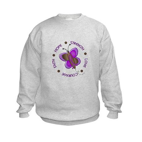 Hope Courage 1 Butterfly 2 PURPLE Kids Sweatshirt