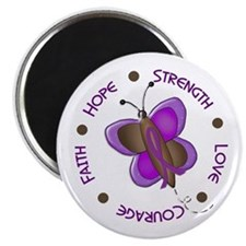 """Hope Courage 1 Butterfly 2 PURPLE 2.25"""" Magnet (10"""