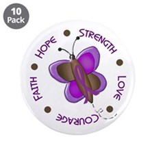 """Hope Courage 1 Butterfly 2 PURPLE 3.5"""" Button (10"""
