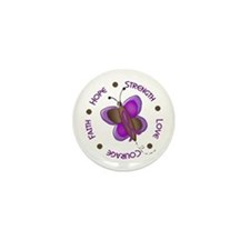 Hope Courage 1 Butterfly 2 PURPLE Mini Button (10