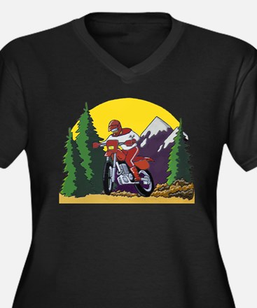 Trail Riding with a Dirt Bike Women's Plus Size V-