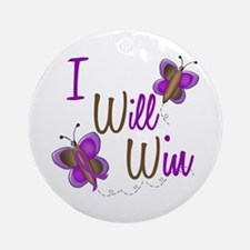 I Will Win 1 Butterfly 2 PURPLE Ornament (Round)