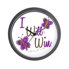 I Will Win 1 Butterfly 2 PURPLE Wall Clock