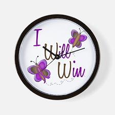 I Will Win 1 Butterfly 2 PURPLE Wall Clock