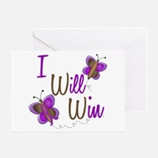 I Will Win 1 Butterfly 2 PURPLE Greeting Card
