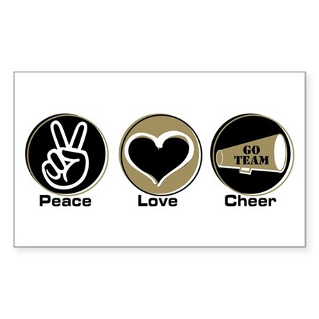 Peace Love Cheer BkGl Sticker (Rectangle 10 pk)