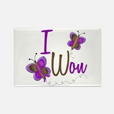 I Won 1 Butterfly 2 PURPLE Rectangle Magnet