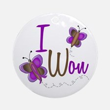 I Won 1 Butterfly 2 PURPLE Ornament (Round)