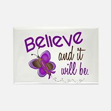 Believe 1 Butterfly 2 PURPLE Rectangle Magnet