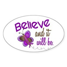 Believe 1 Butterfly 2 PURPLE Oval Decal