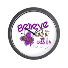 Believe 1 Butterfly 2 PURPLE Wall Clock
