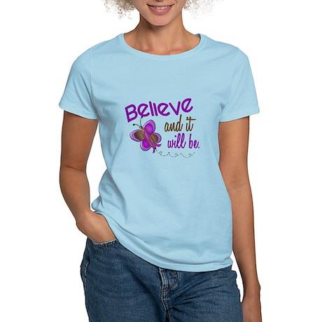 Believe 1 Butterfly 2 PURPLE Women's Light T-Shirt