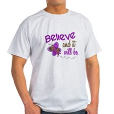 Believe 1 Butterfly 2 PURPLE T-Shirt