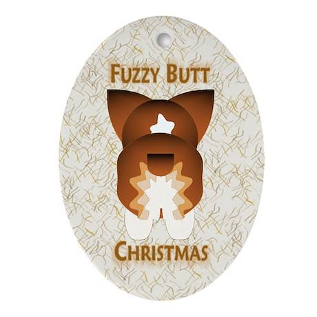 Drk Sable Pem Fuzzy Butt Christmas Oval Ornament