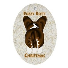 Brindle Cardi Fuzzy Butt Christmas Oval Ornament