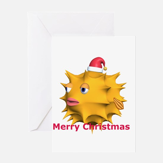 Christmas Puffer Fish Greeting Card