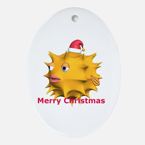 Christmas Puffer Fish Oval Ornament