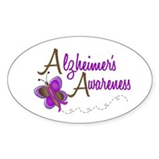 AD Awareness 1 Butterfly 2 Oval Decal