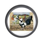 Duckwing Bantam Chickens Wall Clock